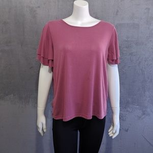 Lucky Brand pink ruffle sleeve blouse